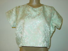 Urban Outfitters Renewal Light Blue Shiny Gold Crop Top Vintage Fabric-M NEW