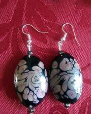 Lampwork drop dangle, silver plated earrings, black pink pattern 40mm (327)