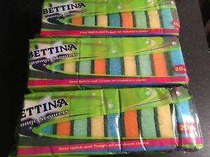 60 Bettina Sponge Scourers Clean Stain Surface Washing Up Dish Kitchen Pad (3x20