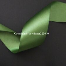 "Premium Quality 50mm 2"" Wide GREEN Double Satin Ribbon Wedding Car Woven Edge 5m"