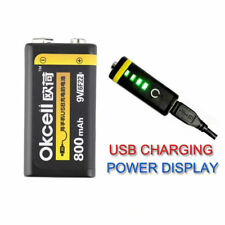 OKcell 9V 800mAh Lipo Battery USB Rechargeable High Quality Upgrade Lipo Battery