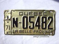 1971 QUEBEC Vintage License Plate FARM # N-05482