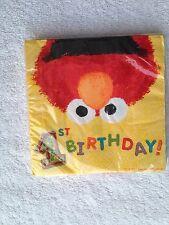 Designware Sesame Street first birthday party beverage napkins Elmo NEW