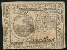 $6 SIX DOLLARS MAY 10, 1775 CONTINENTAL CURRENCY NOTE RARE