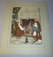 "Antique Hand-Watercolor Print Monks Making Crepes Harry Eliott 16"" x 19.5"" Mat"