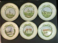 set of six cheese & dessert plates by Longchamp of France. French wine chateaus