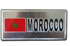 MOROCCO  COUNTRY FLAG-SILVER LICENSED STICKER FLAG PLATE..SIZE: 6 X 3 INCH