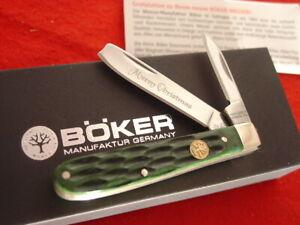 Boker Germany 3-1/8 Bone Merry Christmas One Arm Razor Jack Knife MIB