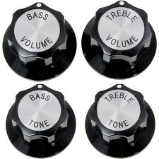 NEW Set (4) KNOBS for RICKENBACKER BLACK/SILVER VOLUME & TONE TREBLE BASS 6MM ID