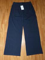 Neue Saint + Sofia Damen Camden Wide Leg Stoff Hose Gr L Navy Stretchbund