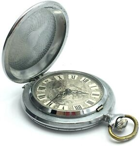 Vintage Men's Pocket Watch MOLNIJA Retro USSR Roman Numerals Soviet Collectible