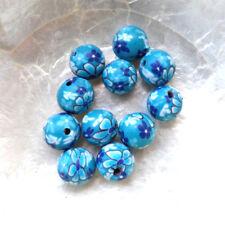 10 Perles FIMO POLYMÈRE - RONDES - FLEURS BLEUES - 10 mm - Trou 1,5/2 mm