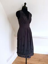 GREAT PLAINS Stunning Charcoal Grey Dress. Fully Lined. 100% Cotton. Size S (10)