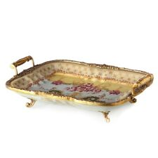 Hand painted yellow brass porcelain fruit tray