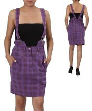 Purple Plaid Cotton Suspender Skirt w/pockets. Small   Medium   Large.