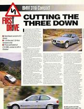 1994 BMW 316i Compact Original Car Review Print Article J604
