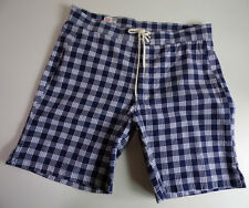 M Nii (Makaha) PALAKASLIDER Surf Shorts Made in USA Blue/White - Waist 30""