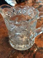 Vintage Leaded Cyrstal Pitcher Cut Glass Etched Clear