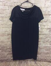 New Jones New York Black Short Sleeve Dress Drape Neckline Size 10 NWTs $164