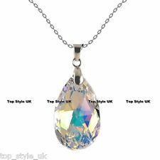 18K WHITE GOLD GP BEAUTIFUL TEAR DROP CRYSTAL DIAMOND NECKLACE PENDANT ANGEL