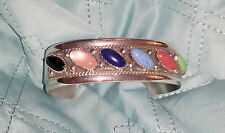 Authentic Navajo Signed JS Cuff Bracelet Multi Stone Handcrafted Sterling