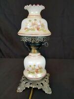 """Vintage 12"""" White Tan Floral Hurricane Light Lamp Desk GWTW Table Light"""