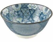 "Japanese Rice Soup Noodle Bowl 6""D Porcelain Blue Ryokusai Floral, Made in Japan"