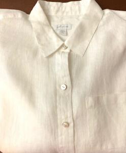 J. JILL ~ WOMEN'S WHITE 100% LINEN  BUTTON UP POCKET SHIRT ~ SIZE PS NEW