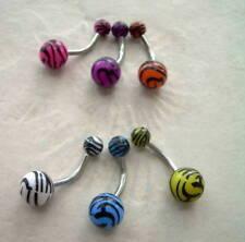 Zebra Animal Print Navel Belly Button Ring 14g Pink
