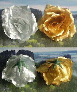 5 silber gold Textilrosen Tischdeko Rosen Hochzeitsdeko Rosenköpfe 10 cm