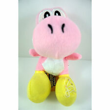 NEW 8'' Super Mario Bros Pink Yoshi Soft Plush Toy Stuffed Dragon Doll + CHARM