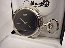 Watch With 3 Diamonds New Reduced Colibri Silvertone Quartz Black Face Pocket