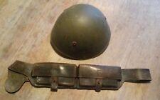 WW1 / WW2 Italian Cavalry, Mobile troops ammo pouch bandolier + WW2 Style Helmet