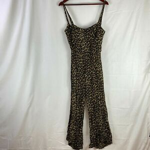 Faithfull The Brand Womens Size 10 Animal Print Jumpsuit Strappy Long Pant Flowy