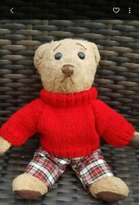 Hand Knitted Jumper with Red and White Tartan Trousers for Teddy Bear