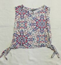 Charlotte Russe White Open Side Top With Blue & Pink Floral Print Sz S NWT