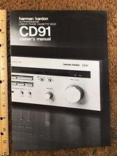 Harman Kardon HK CD91 Cassette Deck Original Owners Manual 8 Pages & color broch