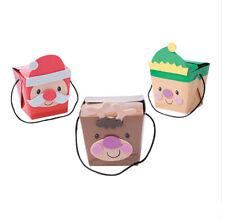 12 Christmas Treat Box Craft Kits 4 Santa 4 Elf 4 Reindeer Self-Adhesive Abcraft