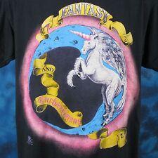 vintage 80s UNICORN FANTASY & ENCHANTMENT PAPER THIN T-Shirt L/XL cartoon myth