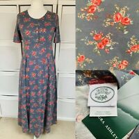 Laura Ashley Blue Midi Dress Size 14 BNWT Vintage 1980s Floral Cotton Jersey
