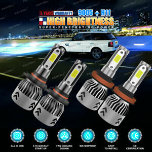 H11 9005 Total 2800W 420000LM LED Headlight High Low Beam Combo Kit 6000K White
