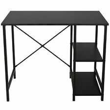 Black Computer Desk Home Office Study Workstation Table With 2 Tier Shelves