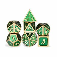 Metal Dice Set D&D, 7 Die Green DND Dice with Metal Case for Dungeons and Dra...