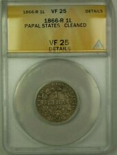 1866-R Papal States 1 Lira Coin ANACS VF 25 Cleaned Details