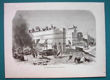 INDIA Cremation Ghat at Calcutta  - 1866 Antique Print Engraving