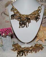 3 PC BETSEY JOHNSON STUNNING HUGE ELEPHANTS NECKLACE BRACELET & CRYSTAL EARRINGS