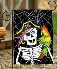 Toland Skeleton Pirate 12.5 x 18 Spooky Halloween Spider Web Parrot Garden Flag
