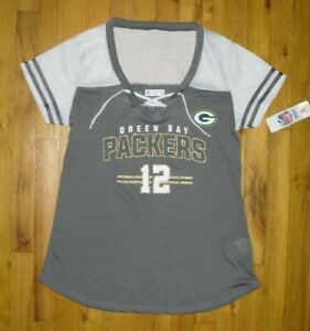 NWT Women's NFL Green Bay Packers Rodgers #12 Grey/White Jersey Top Sz Large