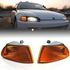 92 93 94 95 Honda Civic 2/3d Amber Corner Park Light Turn Signal Lamp Lens Pair