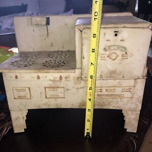 Vintage Antique Child's Doll Electric Kitchen Stove Oven Tin Toy 1930s